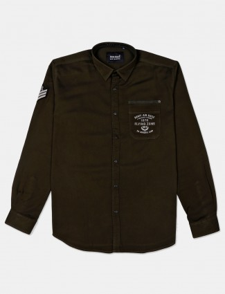 River Blue cotton olive solid shirt