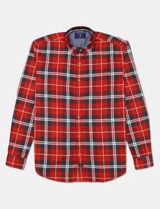 River Blue cotton orange checks shirt
