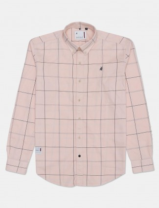 River Blue cotton peach checks casual shirt