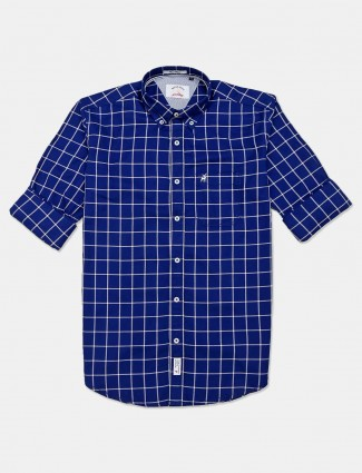River Blue cotton royal blue checks shirt