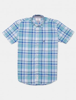 River Blue cotton sky blue stripe casual shirt