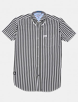 River Blue cotton stripe black shirt