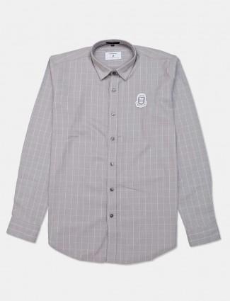 River Blue cotton stripe casual grey shirt