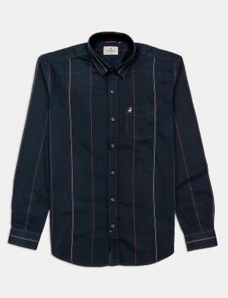 River Blue cotton stripe dark green mens shirt