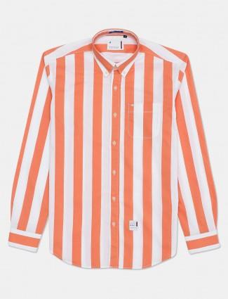 River Blue cotton stripe dark orange shirt