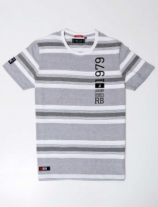 River blue cotton stripe pattern grey slim fit t shirt