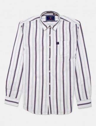 River Blue cotton stripe white mens shirt