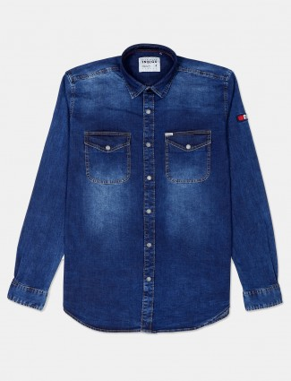 River Blue denim blue solid shirt