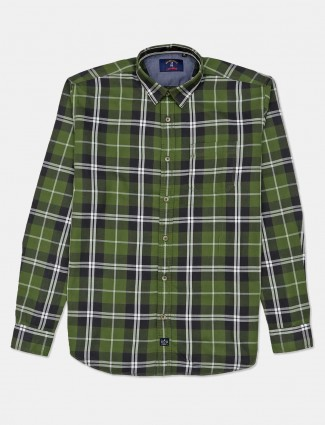 River Blue full sleeves green checks shirt