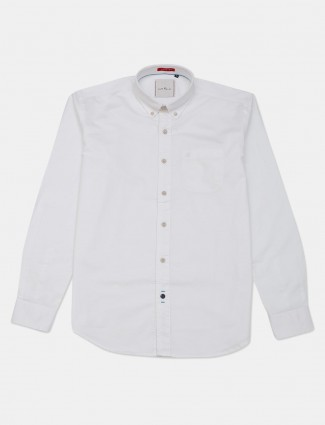 River Blue full sleeves white solid casual shirt