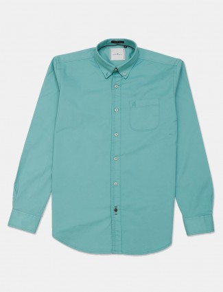 River Blue green casual wear solid shirt