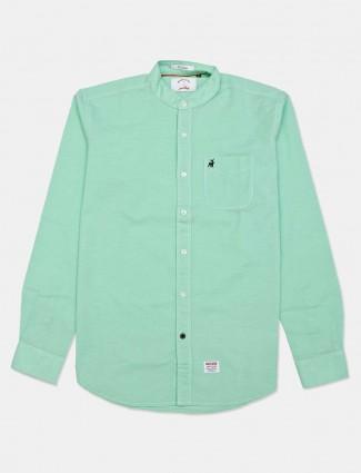 River Blue green slim fit solid shirt