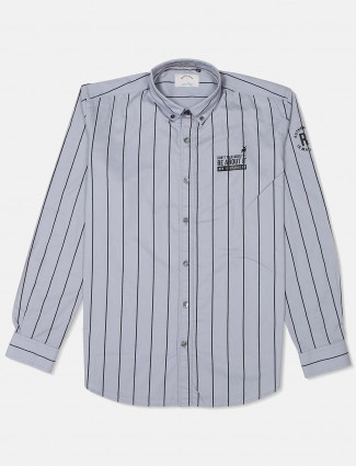 River Blue grey cotton stripe shirt