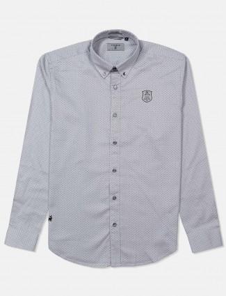 River Blue grey polka dot printed shirt