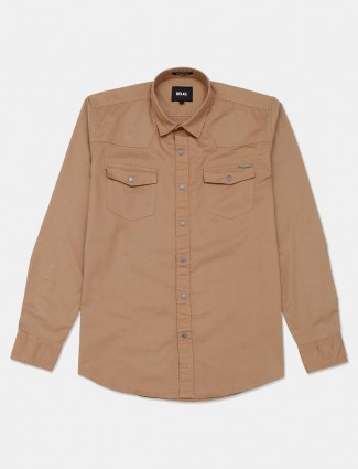 Relay khaki solid cotton shirt