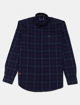 River Blue latest navy checks cotton shirt