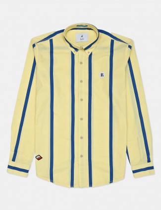 River Blue lemon yellow slim fit solid shirt