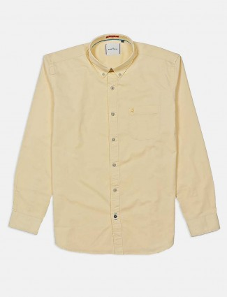 River Blue light yellow solid cotton shirt