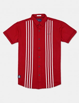 River Blue Maroon cotton stripe mens shirt