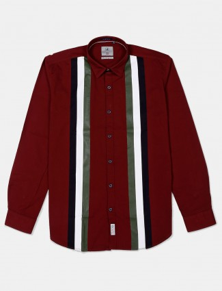 River Blue maroon cotton stripe shirt