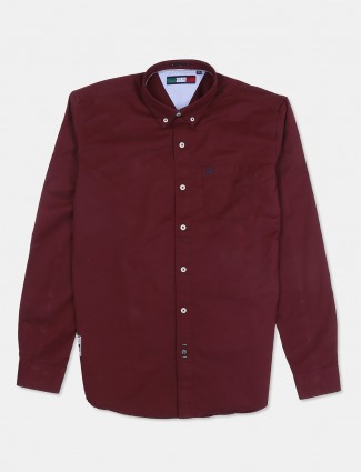 River Blue maroon patch pocket solid shirt