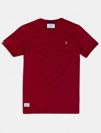 River Blue maroon solid round neck t-shirt