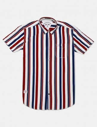 River Blue maroon stripe cotton shirt