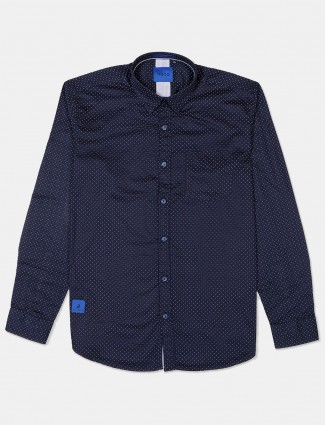River Blue navy polka dot printed shirt