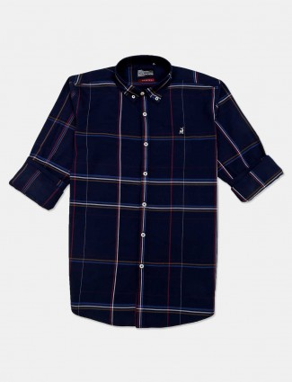 River Blue navy simple checks casual shirt