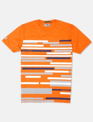 River Blue orange cotton stripe t-shirt