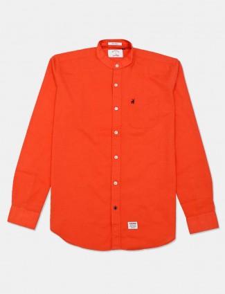 River Blue orange slim fit solid shirt