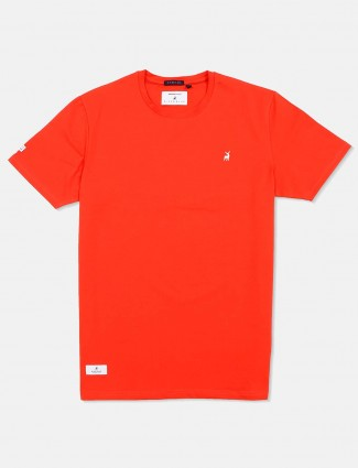 River Blue orange solid casual t-shirt