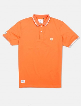 River Blue orange solid t-shirt