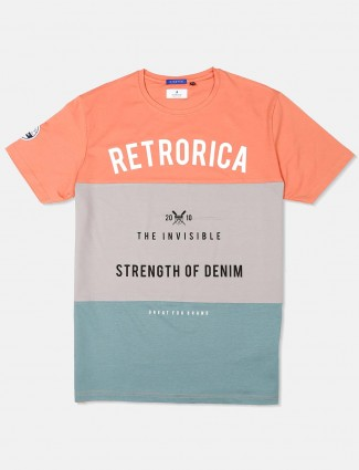 River Blue peach and grey printed t-shirt