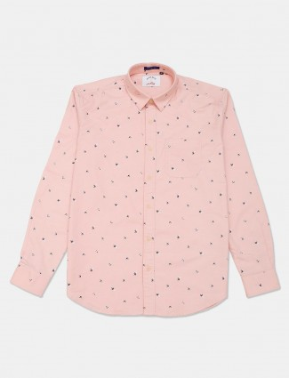 River Blue peach printed cotton casual shirt