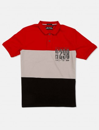 River Blue polo neck red and grey t-shirt