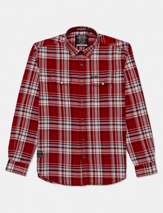 River Blue presented maroon checks shirt for mens