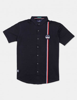 River Blue presented solid navy cotton shirt