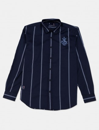 River Blue presented stripe navy shirt