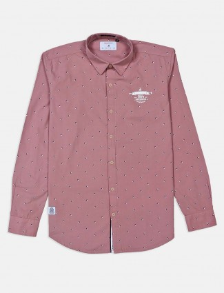 River Blue printed dusty pink mens shirt