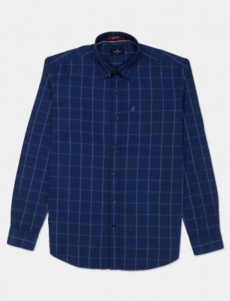 River Blue royal blue checks full sleeves shirt