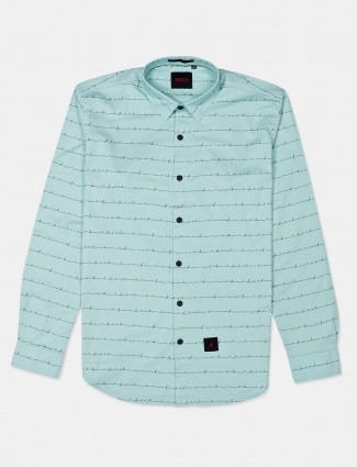 River Blue sea green stripe casual shirt