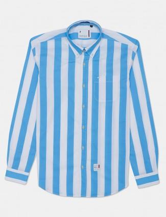 River Blue sky blue slim fit stripe shirt