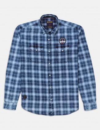 River Blue slim collar blue checks shirt