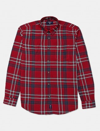 River Blue slim collar maroon checks shirt