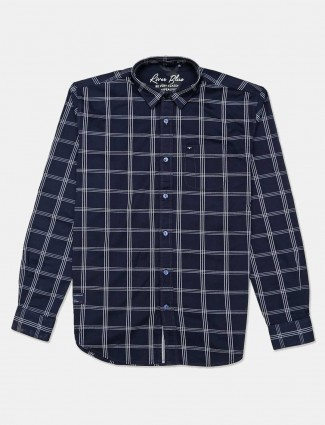 River Blue slim collar navy checks mens shirt