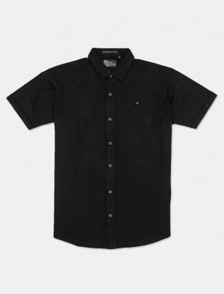 River Blue slim collar solid black shirt