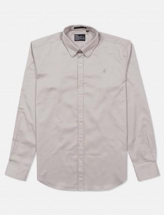 River Blue slim collar solid grey shirt