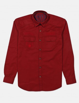 River Blue slim collar solid maroon shirt
