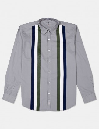 River Blue slim collar stripe grey shirt